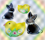 Easter bunnies and chick cookies Royalty Free Stock Photos