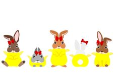 Easter bunnies in chicken costumes. Funny Easter bunnies in chicken costumes in a row, rear view and front view stock illustration
