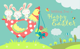 Easter bunnies,chicken and easter eggs Royalty Free Stock Image