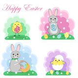 Easter bunnies and chickens, set. It`s spring. Seasonal celebration. Vector illustration royalty free illustration