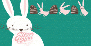 Easter Bunnies and Chocolate Eggs. Vector illustration for banner, greeting card, and more stock illustration