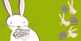 Easter Bunnies and Chocolate Eggs. Vector illustration for banner, greeting card, and more royalty free illustration