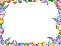 Easter bunnies with colorful eggs and flowers border frame. Isolated on white Stock Images