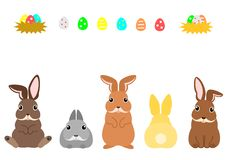 Easter bunnies and colorful eggs. Funny Easter bunnies and easter eggs in a row, elements set for Easter stock illustration