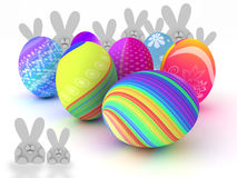 Easter bunnies and colorful eggs  on white. Background. 3D render. Copy space Royalty Free Stock Photos
