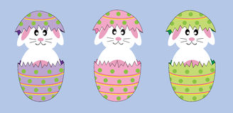 Easter Bunnies. Cute colorful happy Easter bunnies in eggs Royalty Free Stock Photos