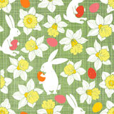 Easter Bunnies and Daffodils. Seamless  pattern. Stock Photography
