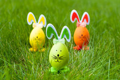 Easter bunnies. Decorative easter eggs bunnies on green grass, selective focus Royalty Free Stock Photo