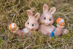 Easter bunnies doing gymnastics Stock Photography