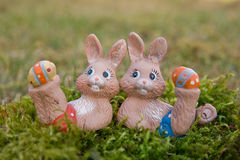 Easter bunnies doing gymnastics Stock Images
