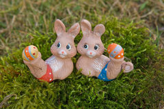 Easter bunnies doing gymnastics Stock Image