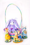 Easter Bunnies and Easter Basket. Easter Bunnies and Basket over white Stock Photos