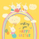 Easter bunnies and easter egg Royalty Free Stock Photos