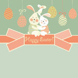 Easter bunnies and easter egg Stock Images