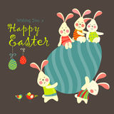 Easter bunnies and easter egg Royalty Free Stock Photo