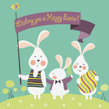 Easter bunnies and easter egg Stock Image