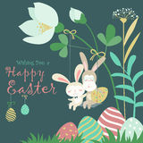 Easter bunnies and easter egg Royalty Free Stock Images
