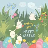 Cute Easter bunnies and easter egg. Happy holidays royalty free stock image