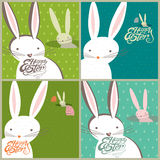 Easter bunnies, Easter eggs. Four greeting card. Easter bunnies look out for burrows Easter eggs. Four greeting card set royalty free illustration