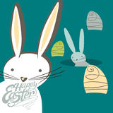 Easter bunnies and Easter eggs. Funny Easter bunnies and Easter eggs. Vector greeting card vector illustration