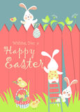 Easter bunnies and easter eggs Stock Image