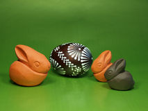 Easter bunnies and egg Royalty Free Stock Photography