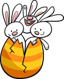 Easter bunnies in egg cartoon Stock Photography