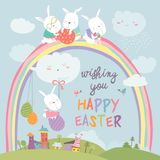Easter bunnies and easter egg Royalty Free Stock Image