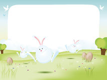 Easter Bunnies With Eggs vector illustration