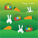 Easter bunnies, eggs, baskets and carrot. Easter card with funny bunnies, eggs in the baskets and carrot Stock Photography