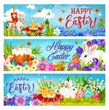 Easter bunnies with eggs, flowers and chicks stock illustration