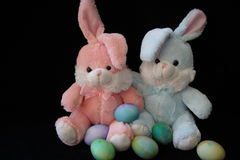 Easter Bunnies and Eggs. Pink and blue stuffed bunny rabbits with colored eggs, black background Royalty Free Stock Photo