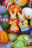 Easter bunnies with eggs. Still life Royalty Free Stock Photography
