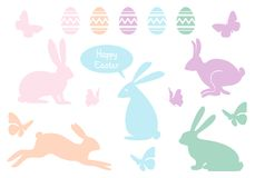 Easter bunnies and eggs, vector set Stock Photos