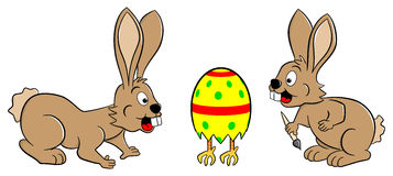 Easter bunnies finding a running egg. Vector illustration of easter bunnies finding a running easter egg Stock Image