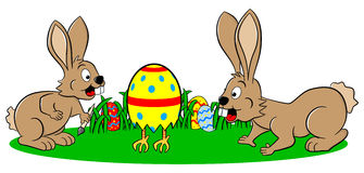 Easter bunnies finding a running egg. Vector illustration of easter bunnies finding a running easter egg Royalty Free Stock Photography