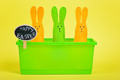 Easter Bunnies in flower pot with chalkboard Stock Photography
