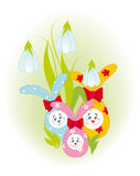 Easter bunnies and flowers Royalty Free Stock Photos