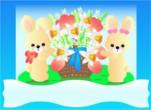 Easter bunnies and flowers. This image is a vector illustration and can be scaled to any size without loss of resolution. This image will download as a .eps file Royalty Free Stock Photo