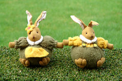 Easter bunnies in the garden Stock Image