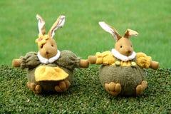 Easter bunnies in the garden Stock Image