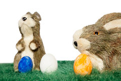 Easter bunnies on grass Royalty Free Stock Photography