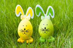 Easter bunnies on grass royalty free stock photo