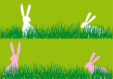 Easter bunnies in grass, vector Royalty Free Stock Photos