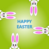Easter bunnies on green background. Vector illustration Royalty Free Stock Photography