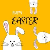 Easter bunnies. Greeting card with white Easter rabbit. Easter bunnies. Colorful Easter greeting card. Greeting card with white Easter rabbit.Vector stock illustration