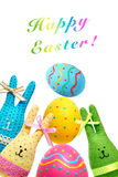 Easter Bunnies Handmade and painted Eggs on white Royalty Free Stock Photo
