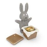 Easter bunnies is hiding the egg in the caskit Stock Photos