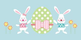 Easter Bunnies hold Egg - Happy Easter vector illustration