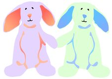 Easter Bunnies holding hands. Vector illustration of a blue and pink Easter bunny standing on their hind legs and holding hands Royalty Free Stock Image